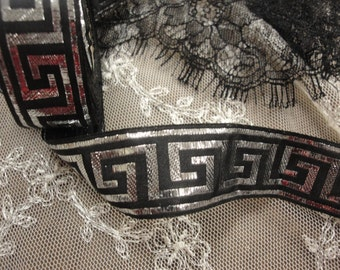 "2.5 yards 1"" width (25mm) black and silver brocade Greek designs ribbon"