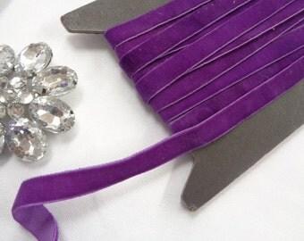 """3 yards 3/8"""" width purple velvet elastic / stretch velvet purple or sea grape ribbon ST"""