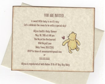 Winnie The Pooh Invitations For Baby Shower Birthday Christening Baptism - Set of 10 Gender Neutral Invitess - Rustic Vintage Style