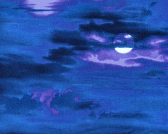 Dark Blue Moonlight Sky - Elizabeth Studios - 1 yard plus - Last Available