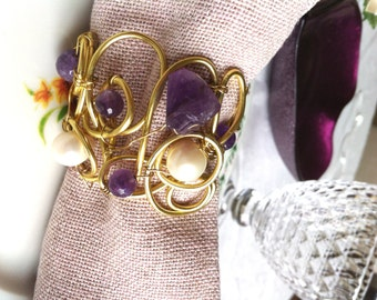 SET OF 5 decorative napkin holders amethyst and pearls, napkin rings Christmas gift idea