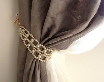 Decorative tie backs with faux pearls, curtain holders, drapery holders