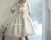 Marianne - Vintage Inspired Wedding Dress with 3/4 sleeves. Tea Length. Gorgeous Dupioni SILK.