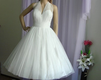 Emma - Gorgeous Retro Style Wedding Dress. Tea Length.