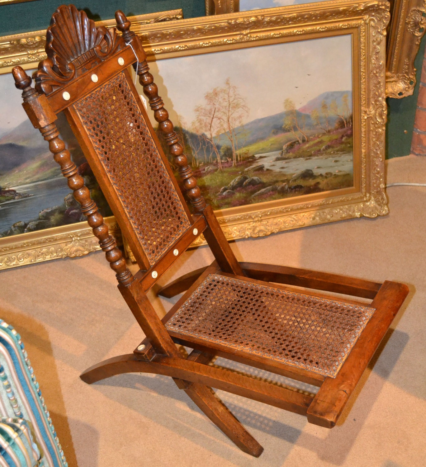 William IV early Victorian folding steamer campaign chair cane turned wood acorn finials shell