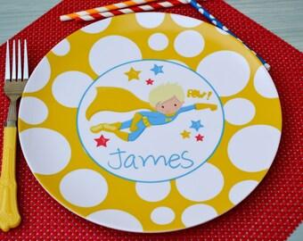 Personalized Superhero Plate / Personalized Super Hero Plate Yellow Dots / Personalized Plates for kids / Kids Personalized Plate
