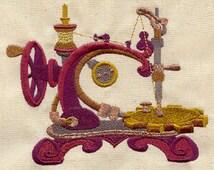Steampunk Sewing Machine Embroidered Cotton Hand Kitchen Towel