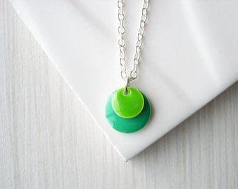 Enamel Necklace -  Minimalist Jewelry, Teal Blue, Lime Green, Simple, Contemporary, Modern, Dainty, Geometric, Charm