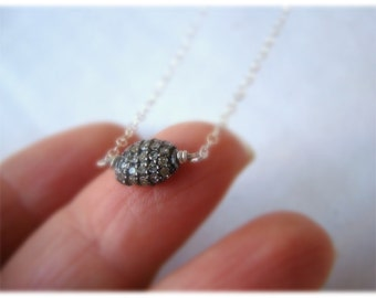 Sale Diamond Necklace - Pave Sterling Silver - April Birthstone