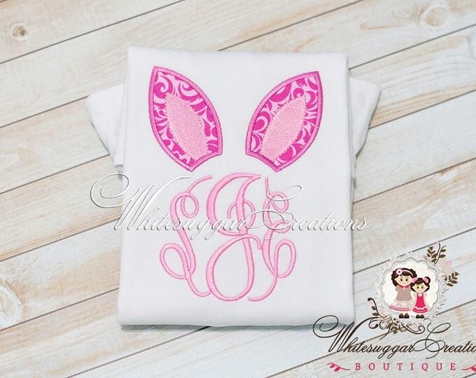 Girl Easter Shirt, Easter Bunny Ears Monogram Shirt, Custom Easter Outfit, Bunny Outfit, Baby Girl Bunny Outfit, Easter Bunny Shirt