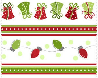 Merry & Bright Christmas Stripe from Maywood Studios - Full or Half Yard Christmas Lights and Presents