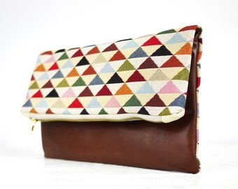 SALE!!! Diamond Print clutch | Brown leather fold over clutch | Brown leather tribal clutch