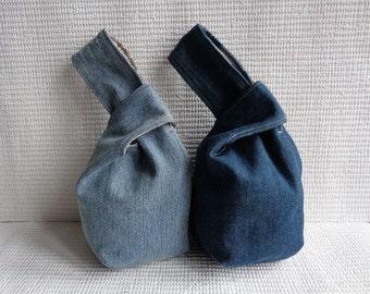 Denim japanese knot bag wristlet clutch mini pouch purse recycled custom made
