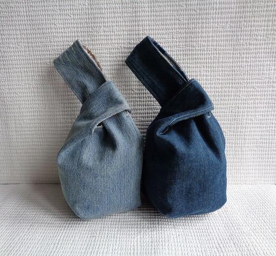 denim japanese knot bag wristlet clutch mini pouch purse