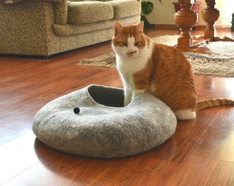 Cat bed cat house handmade felted wool cat bed cat cave redy to ship