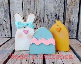 Easter decor CHICK BUNNY Easter EGG spring blocks holiday seasonal home decor easter egg bunny gift primitive