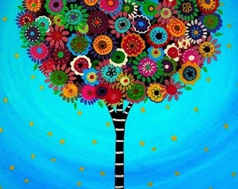 Mexican Folk Art Tree of Life Whimsical Bar Bat Mitzvah Painting PRINT