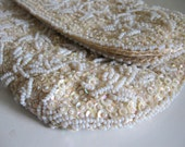 White Eggshell Cream Pearl Sequins Beaded Vintage Evening Bag Clutch Satin Lining Foldover Fabulous! Wedding Formal Party Prom