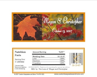 Wedding Fall Leaves Candy Bar Wrapper  - Personalized (set of 15) , Autumn candy bar wrapper with foil pouch