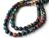 """Faceted Gemstone Beads - Multicolor Round Agate -  Natural Stone - Pink Blue Yellow Black - 8mm - 7"""" Strand - DIY Jewelry Making"""