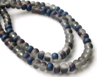 """Rondelle Beads - Metallic Unpolished Matte Beads - Blue Gray Purple Glass Beads - Center Drilled - 16"""" - 8mm x6mm - DIY For Jewelry Project"""