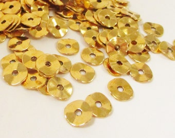 Gold Spacers - Gold Wavy Disc Rondelle - Plain Spacer Beads - Jewelry diy Metal Findings - 9mm 14g. - 45-50 Spacers Approx