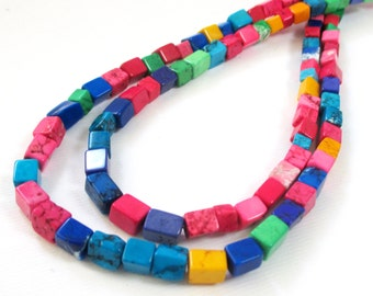 "Square Cube Beads - Multicolored Howlite - Pink Blue Green - 3D Cube Beads - 16"" Strand Natural Stone - DIY Jewelry Making - Bulk Options"