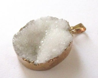 Snow White - Druzy Geode Pendant - Sparkly Crystal - Edged Gold Teardrop - Natural Stone - Rough Surface - Flat Back - DIY Jewelry Making