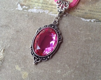 Hot Pink Resin Gem Costume Cameo Necklace
