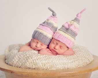 Twin Hats - Newborn - Knit Knot Hat - Textured Sleeping Cap - Pastels - Stripes - Every day use - Photography Prop