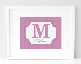 8x10 - Custom Color Monogram - Nursery Art Print