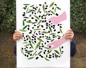"Olive Harvest poster print 20""x27"" - archival fine art giclée print"