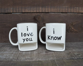 i love you / i know - His and Hers Ceramic Cookies and Milk Dunk Mug Set - Star Wars Inspired - Princess Leia to Han Solo - Ready to Ship