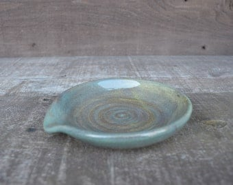 Earth Tone Ceramic Spoon Rest - Hand Thrown Style - Riverstone