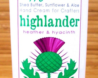 Highlander Heather & Hyacinth Scented Hand Cream for Knitters - 4oz Medium HAPPY HANDS Shea Butter Hand Lotion Paraben-Free