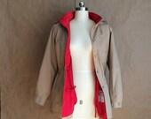 S A L E / vintage hooded jacket / coat / removable red liner/ drawstring waist / vintage windbreaker / 1980's