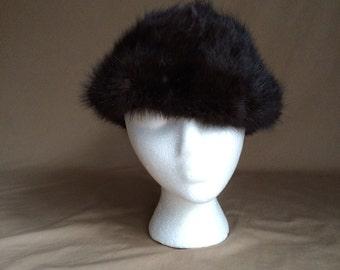 mink fur hat / vintage 1960's 60's mod retro
