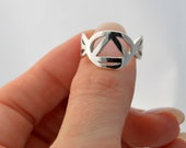 Sterling Silver AA ring, Sobriety Celebration Ring, Alcoholics Anonymous Jewelry