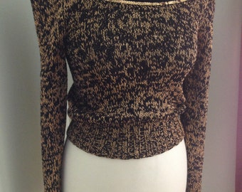 Vintage 1970's Disco gold sequin sweater with faux fur trim Size S Antonella Preve SALE