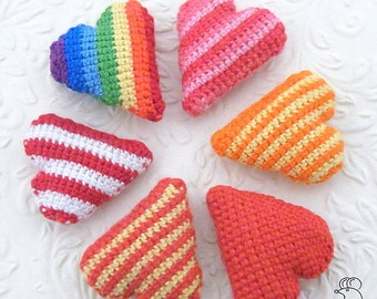 Crocheted Striped Heart amigurumi magnet