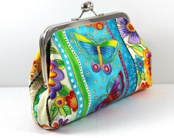 SALE Butterfly's and Flowers in Bright Mixed Colors Clutch FREE SHIPPING