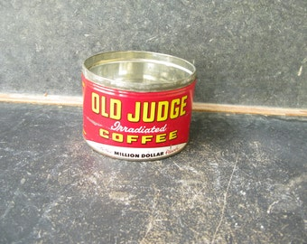 Vintage Coffee Can, Old Judge, Red