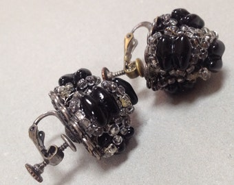 Black Dome Shaped Beaded Haskell Earrings – 1940s Jewelry