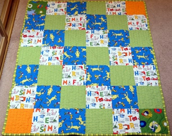 """Dr. Seuss Green Eggs and Ham Quilt - Bright Green Dimple Minky Back, 41"""" X 36"""""""