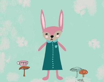 Penelope Rabbit Nursery Wall Art 12 x 12*