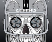 Oakland Raiders Sugar Skull 11x14 Print