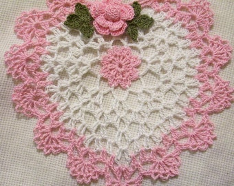 Mother's day crocheted doily  pink heart home decor handmade in USA original design