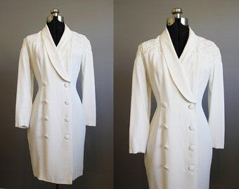 White Suit Dress Vintage Western Embroidered Medium