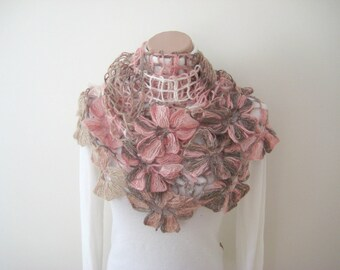 Floral Pale Pink Shawl - Shiny Blush Powder Pink Latte Brown Cream Flower Triangle Cowl, Neckwarmer - Gift for Her - Ready for Shipping