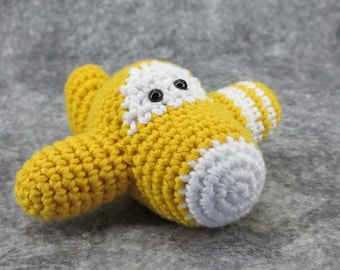 Amigurumi airplane rattle crochet baby toy - organic cotton - yellow and white